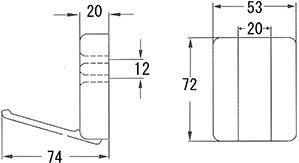 木製フォールディングフック シングル寸法図