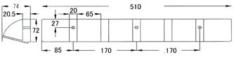 木製フォールディングフック 5(ファイブ)寸法図